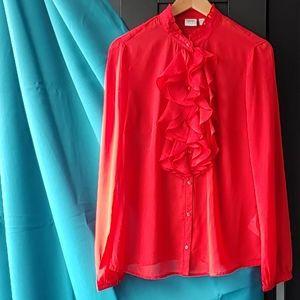 Esprit Crimson Ruffled Blouse